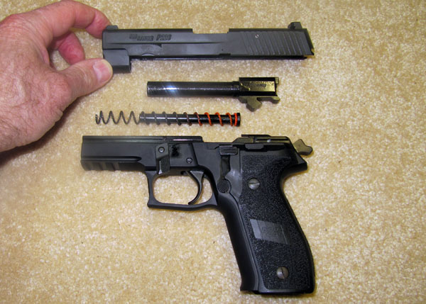 SIG Sauer P226 Disassembled for Cleaning, Frame, Recoil Spring, Barrel, Slide