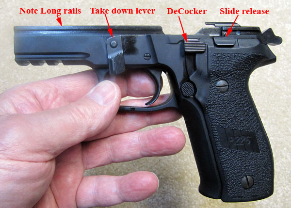 SIG Sauer rails, Take down lever, DeCocker, Slide release