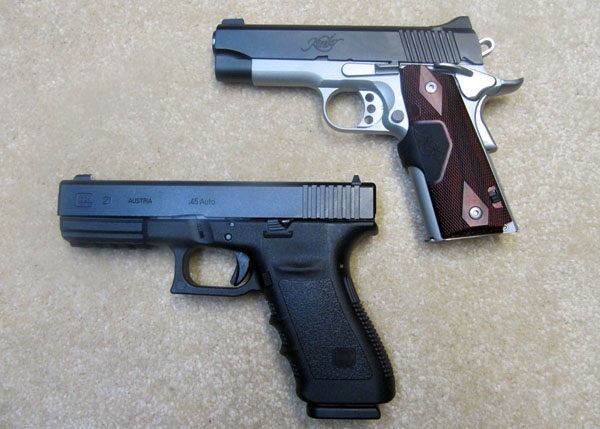 Glock 21SF vs Kimber Crimson Carry II