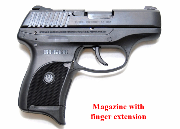 Ruger LC9 shown with finger extension