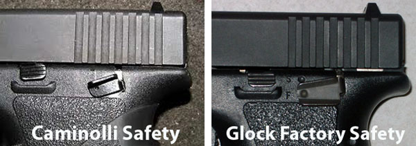 Compare Glock Factory External Safety vs Caminilli External Safety