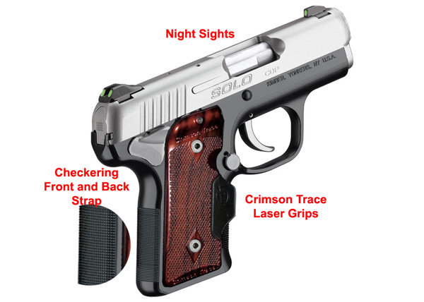 Kimber Solo Carry CDP with night sights, strap checkering, Crimson Trace Laser Grips